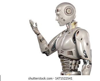 未来的なロボットマンや、手を見た非常に詳細なアンドロイド。上半身の側面図。白い背景に。3Dイラスト