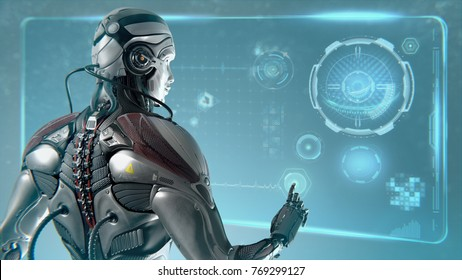 Futuristic Robot working in virtual room with digital interface, 3d render