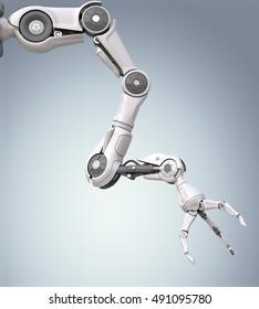 Futuristic robotic arm with mechanical seizure. 3D render
