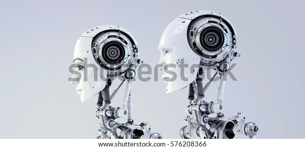 Futuristic robotic couple, robot man & woman in side 3d render