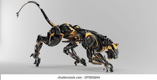 Futuristic robotic predator panther 3d render / Artificial panther
