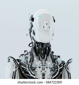 Futuristic robotic wired pilot in white. Front angle, 3d rendering