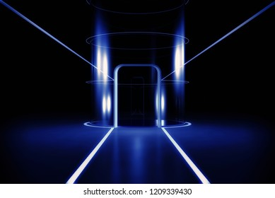 Futuristic room with glass elevator. 3D rendering image