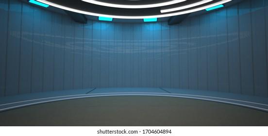 Futuristic room rendering. 3d illustration.