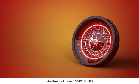 Futuristic Roulette Wheel With Red Neon Lights Isolated On The Background - 3D Illustration