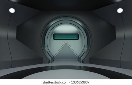 Futuristic round metallic door 3D render