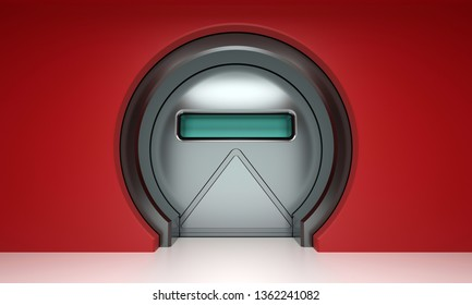 Futuristic round metallic door on red wall 3D render