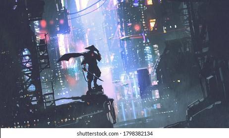 futuristische Samurai auf einem Gebäude in Cyberpunk-Stadt bei regnerischer Nacht, digitale Kunststil, Illustrationsmalerei