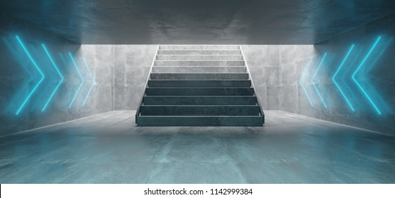 Futuristic Sci Fi Big Concrete Underground Tunnel With Glowing Neon Light Signs And Concrete Stairs Empty Space 3D Rendering Illustration