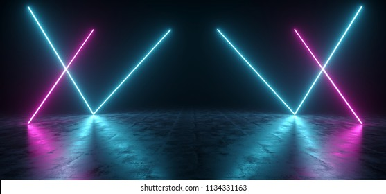 Futuristic Sci Fi Blue And Purple Neon Tube Lights Glowing In Concrete Floor Room With Reflections