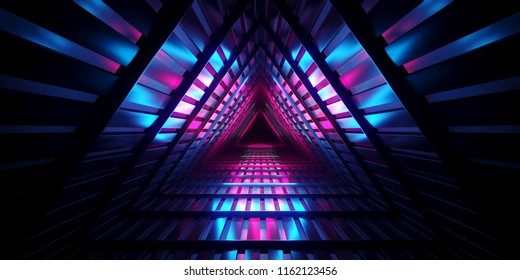 Futuristic Sci Fi Dark Empty Triangle Interior Metal Mesh Corridor With Blue And Purple Neon Lights Reflected Techology Concept 3D Rendering Illustration