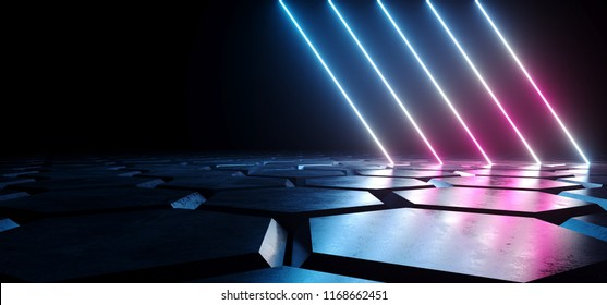 Futuristic Sci Fi Dark Empty Room With Blue And Purple Neon Glowing Line Tubes On Grunge Concrete Hexagon Shaped Floor With Reflections 3D Rendering Illustration