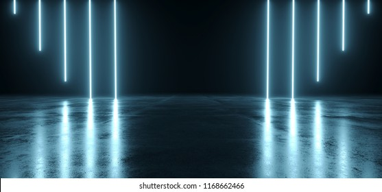 Futuristic Sci Fi Dark Empty Room With Blue Neon Glowing Line Tubes On Grunge Concrete Floor With Reflections 3D Rendering Illustration