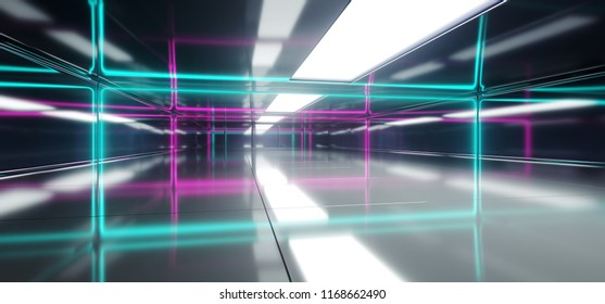 Futuristic Sci Fi Empty Room With Blue And Purple Neon Glowing Line Tubes On Highly Reflective Walls And  Floor 3D Technology Concept Rendering Illustration