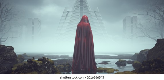 Futuristic Sci Fi Evil Red Spirit Ghost Woman Figure Looking Over Its Shoulder in Alien Landscape Mysterious Foggy Abandoned Brutalist Architecture 3d illustration render