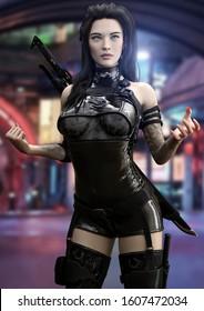 Futuristic sci fi female ninja warrior poses ready for battle with a futuristic urban neon background. 3d rendering