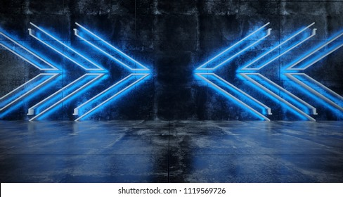 Futuristic Sci FI Grunge High Contrast Concrete Reflective Room With Blue Neon Light Arrows Empty Space 3D Rendering Illustration