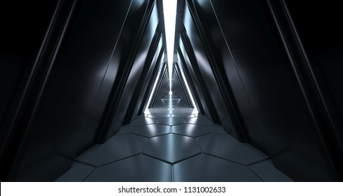 Futuristic Sci Fi Long Dark Triangle Corridor Hexagonal Floor And Reflective Walls 3D Rendering Illustration