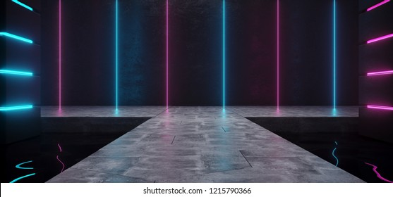 Futuristic Sci Fi Modern Alien Ship Dark Empty Grunge Concrete Room With Reflective Water Waves And Blue And Purple Glowing Neon Lights Background 3D Rendering Illustration