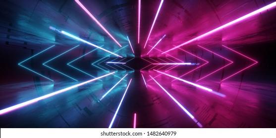 Futuristic Sci Fi Neon Glowing Purple Pink Blue Concrete Grunge Columns Hall Room Tunnel Corridor Scene Stage Virtual Stage Empty Dark Night Spaceship Hi Tech 3D Rendering Illustration