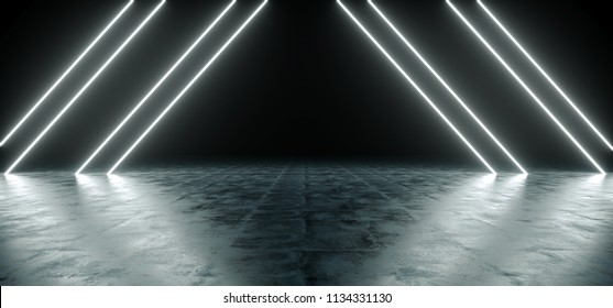 Futuristic Sci Fi Triangle White Neon Tube Lights Glowing In Concrete Floor Room With Reflections Empty Space 3D Rendering Illustration