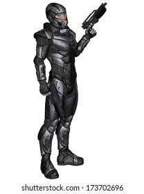 Futuristic science fiction soldier in protective armoured space suit, standing holding pistols, 3d digitally rendered illustration