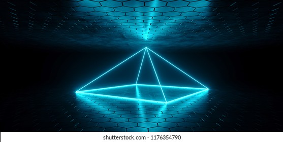 Futuristic Sci-Fi Blue Glowing Neon Tube Pyramid Shaped Object  Lights In Dark Room With Hexagon Shaped Floor And Ceiling With Empty Space Wallpaper 3D Rendering Illustration