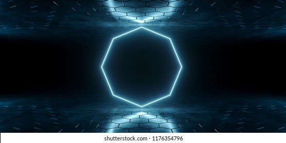 Futuristic Sci-Fi Blue Glowing Neon Tube Octagon Shaped Lights In Dark Room With Hexagon Shaped Floor And Ceiling With Empty Space Wallpaper 3D Rendering Illustration