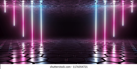 Futuristic Sci-Fi Blue Purple Glowing Neon Tube Lines Lights In Dark Room With Hexagon Shaped Floor And Ceiling With Empty Space Wallpaper 3D Rendering Illustration