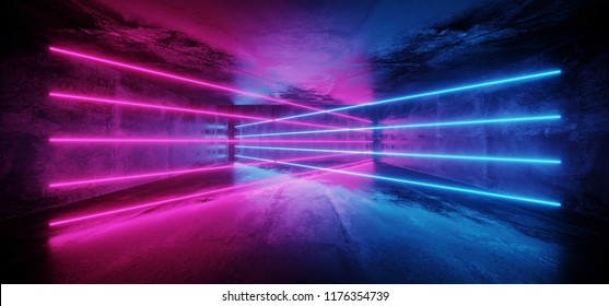 Futuristic Sci-Fi Blue Purple Glowing Neon Tube Line Lights In Dark Grunge Concrete  Tunnel With Empty Space  Wallpaper 3D Rendering Illustration