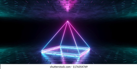 Futuristic Sci-Fi Blue Purple  Glowing Neon Tube Pyramid Shaped Lights In Dark Room With Hexagon Shaped Floor And Ceiling With Empty Space Wallpaper 3D Rendering Illustration