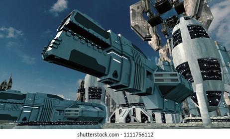 Futuristic scifi city with spaceship landing. 3D rendering