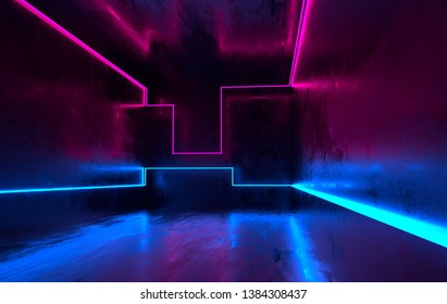 Futuristic sci-fi concrete room with glowing neon. Virtual reality portal, vibrant colors, laser energy source. Blue and pink neon lights