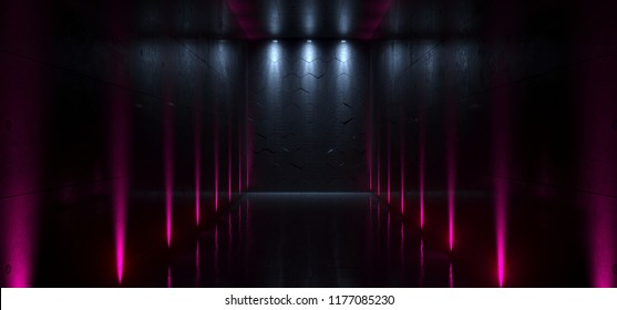 Futuristic Sci-Fi Concrete Tunnel With Multiple Pink Purple Wall Lights And Blue Leds Empty End With Reflections 3D Rendering Illustration
