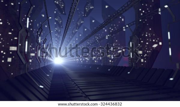 Futuristic sci-fi corridor of glass. 3D rendering