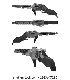 Futuristic sci-fi metal rifle gun different angles isolated on white background.