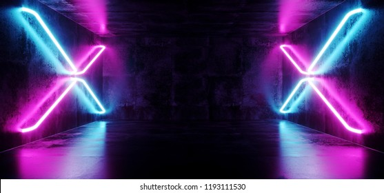 Futuristic Sci-Fi Modern Spaceship Club Party Dark Concrete Room With Cross Shaped Blue And Purple Glowing Neon Tubes 3D Rendering Illustration