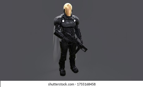 Futuristic sci-fi police officer for photobash, 3D Rendering, perspective view