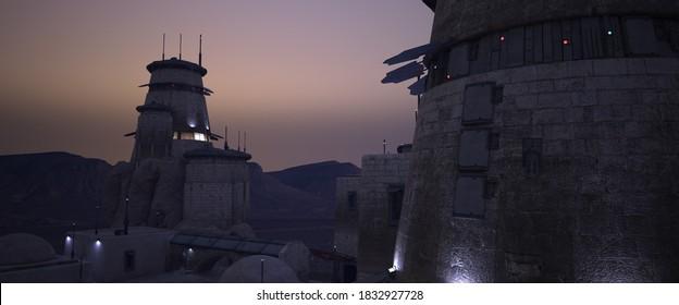 Futuristic Sci-fi scene. Desert outpost against dusty evening sky. Stone towers with neon lights. Retro future wallpaper. Photorealistic 3D illustration.