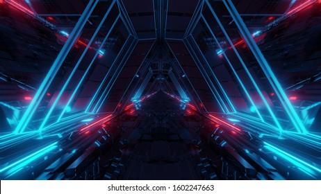 futuristic sci-fi space war ship hangar tunnel corridor with reflective glass windows 3d illustration background wallpaper