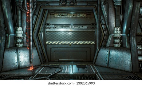 Futuristic sci-fi tunnel with sparks and smoke, interior view. 3D Rendering