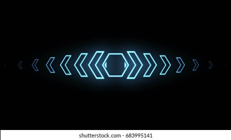 Futuristic screensaver with hex corner. HUD Heads Up Display Scanner high tech target digital read out. Abstract digital background with geometric particles. 3d rendering