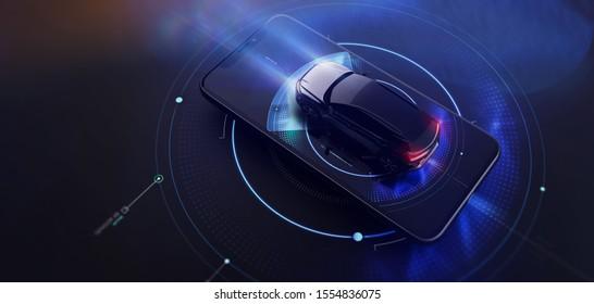 Futuristic smartphone user interface design for modern cars (3D Illustration)