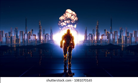 A futuristic soldier on the background of future city 3D rendering