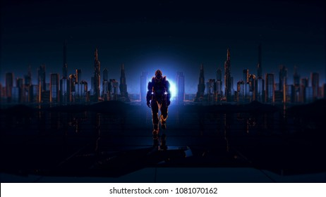 Futuristic soldier on a future city 3D rendering