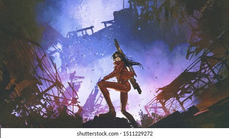 futuristic soldier woman with gun standing against the ruined city, digital art style, illustration painting