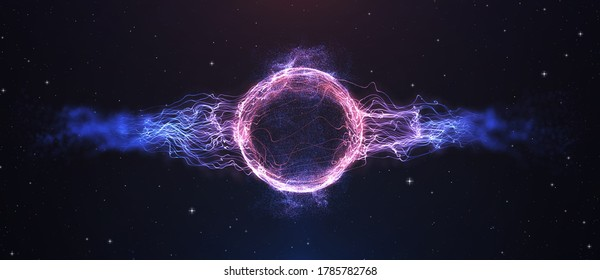 Futuristic space particles wave explosion round circle energy structure. Space orb VFX 3D illustration. Abstract colorful lights black background. Bright glowing  particle explosion. Footage available