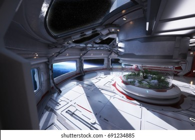 Futuristic space station interior overlooking a planet with a center atrium. 3d rendering