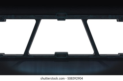 Futuristic space station window with white background 3D rendering