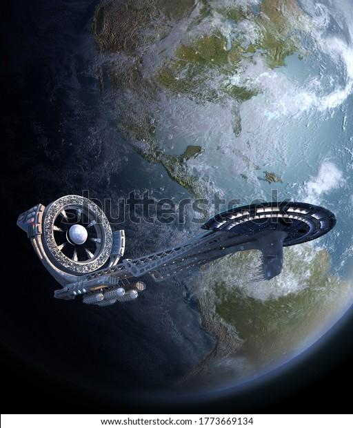 futuristic-spaceship-3d-illustration-pow
